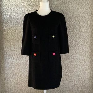 Kate spade black dress with button pocket accents